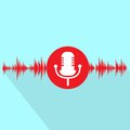 Microphone red icon with sound wave flat design Royalty Free Stock Photo