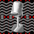 Microphone on a retro pattern Stock Photos