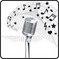 Microphone sheet music Stock Images