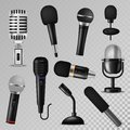 Microphone vector sound music audio voice mic recorder karaoke studio radio record phonetic vintage old and modern Royalty Free Stock Photo