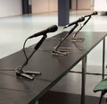 Microphones conference in a meeting room Royalty Free Stock Photo