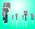 Microphones micl shows music groups band or singing hits showing Stock Photography
