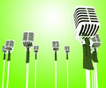 Microphones mics shows musical group or concert showing Royalty Free Stock Image