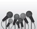 Microphones multiple with empty space Stock Photos