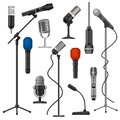 Microphones on stands. Singer mic with wire for stage performance. Music studio audio record equipment. Cartoon radio Royalty Free Stock Photo