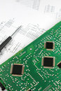 Microprocessors on circuit board Royalty Free Stock Photos
