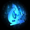 Microscope Icon on Digital Background. Royalty Free Stock Photo