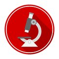Microscope icon with long shadow