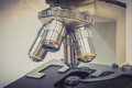Microscope in scientific and healthcare research laboratory biological Stock Photography