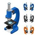 Microscope Set Isometric View. Vector