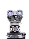 Microscope on white background Royalty Free Stock Image