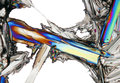 Microscopic view of potassium nitrate crystal in polarized light colorful partially crossed polarizers Stock Photos