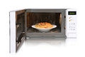 The microwave oven is warm chicken spaghetti. Royalty Free Stock Photo