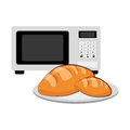 Microwave and porcelain dish with bread Royalty Free Stock Photo