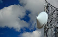 Microwave Radio Tower Dish on a Sunny Clear Day Royalty Free Stock Photo
