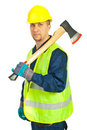Mid adult worker man holding axe Royalty Free Stock Image