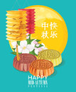 Mid Autumn Lantern Festival vector background with moon cake and chinese lanterns. Translation: Happy Mid Autumn Festival on