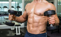 Mid section of shirtless muscular man exercising with dumbbells young in gym Royalty Free Stock Photos
