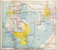 Mid twentieth century map of tampa a relatively undeveloped bay florida Stock Photo