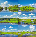 Midday landscapes collection with Narew river. Royalty Free Stock Photo