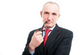 Middle age business man smoking pipe Royalty Free Stock Photo
