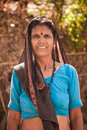 Middle age indian villager woman smiling Royalty Free Stock Photo