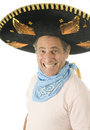 Middle age male wearing Mexican somebrero hat cow Royalty Free Stock Photos