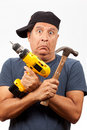 Middle Age Man with Tools Stock Photo