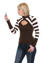 Middle age woman looking on mobile phone Stock Photo