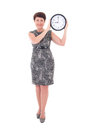 Middle aged businesswoman holding clock attractive isolated on white background Stock Images