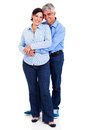Middle aged couple embracing happy isolated on white background Stock Image