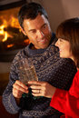Middle Aged Couple With Glass Of Champagne Royalty Free Stock Photos