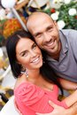 Middle aged couple outdoors happy smiling Royalty Free Stock Photo