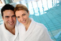 image photo : Middle-aged couple in spa center