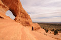 Middle aged man hiking near looking glass arch male hiker by moab utah Stock Photos