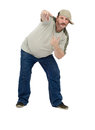 Middle aged rap dancer in t shirt on a white background Stock Image