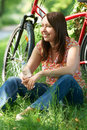 Middle Aged Woman On Cycle Ride In Countryside Royalty Free Stock Photo
