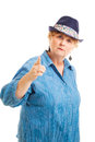 Middle aged woman pointing her finger bossy scolding gesture isolated white Royalty Free Stock Photo