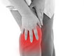 Middle aged woman suffering from knee pain, joint injury Royalty Free Stock Photo