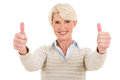 Middle aged woman thumbs up beautiful on white background Royalty Free Stock Photo