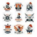 Middle ages logo design set, vintage medieval emblem since 1975 vector Illustrations Royalty Free Stock Photo
