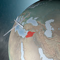 Middle east as seen from space drone air attack against syria Stock Photos
