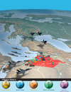 Middle east as seen from space syria attack against possible targets Royalty Free Stock Photo