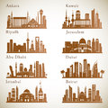 Middle East Cities skylines set. Middle east landmarks vector silhouettes