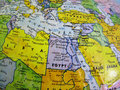 Middle East countries in the Globe Earth Stock Photo