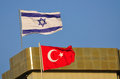 Middle east israeli and turkish flags over turkish embassy tel aviv israel Royalty Free Stock Photography
