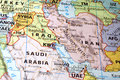 Middle east map detail macro shot of a large focused on the Royalty Free Stock Images