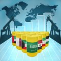 Middle east oil power barrels with the flags of countries on the world map with derricks and growth chart Stock Image