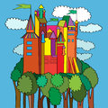 Middle ege castle medieval over a green forest surrounded by clouds multicolored cartoon background Royalty Free Stock Image