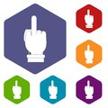 Middle finger hand sign icons set hexagon